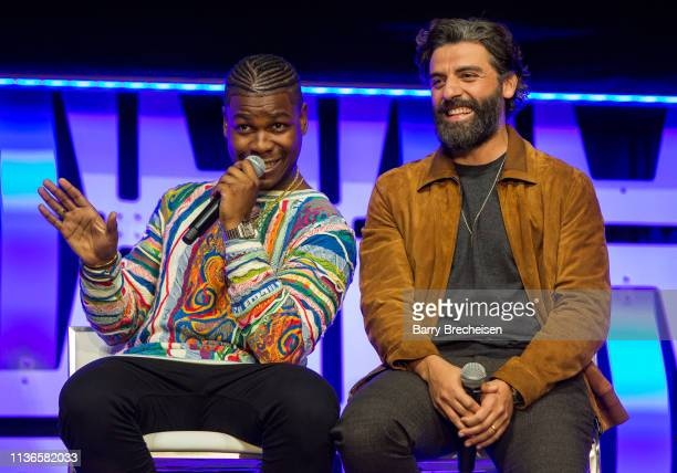 John Boyega and Oscar Isaac during the Star Wars Celebration at the Wintrust Arena on April 12 2019 in Chicago Illinois