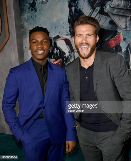 John Boyega and Scott Eastwood attend Universal's Pacific Rim Uprising premiere at TCL Chinese Theatre IMAX on March 21 2018 in Hollywood California