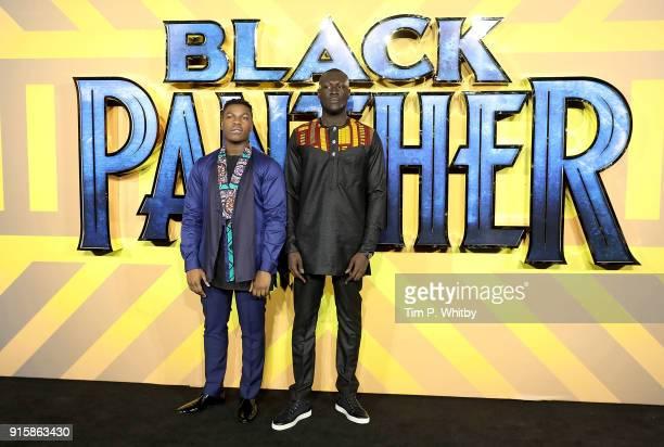 John Boyega and Stormzy attend the European Premiere of 'Black Panther' at Eventim Apollo on February 8 2018 in London England