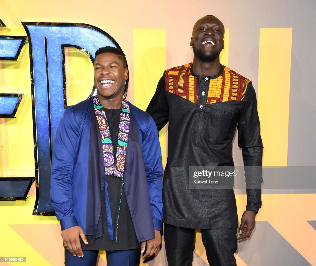 John Boyega and Stormzy attend the European Premiere of 'Black Panther' at Eventim Apollo on February 8, 2018 in London, England.