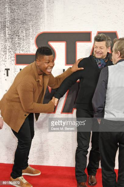John Boyega, Andy Serkis and Mark Hamill pose at the 'Star Wars: The Last Jedi' photocall at Corinthia Hotel London on December 13, 2017 in London,...