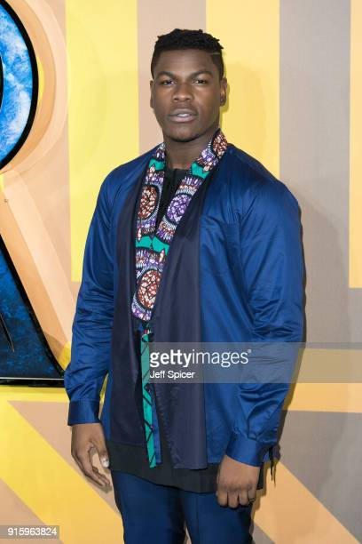 John Boyega attends the European Premiere of 'Black Panther' at Eventim Apollo on February 8 2018 in London England