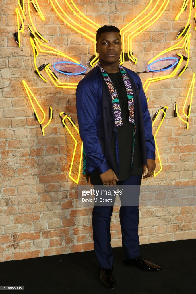 John Boyega attends the European Premiere of 'Black Panther' at the Eventim Apollo on February 8, 2018 in London, England.