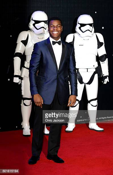 John Boyega attends the European Premiere of 'Star Wars The Force Awakens' at Leicester Square on December 16 2015 in London England