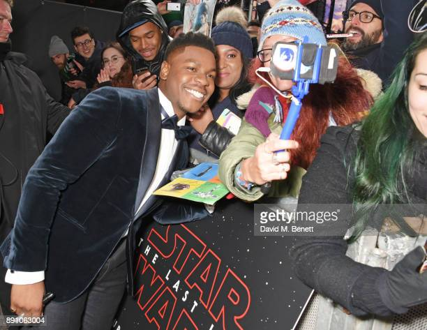 John Boyega attends the European Premiere of 'Star Wars The Last Jedi' at the Royal Albert Hall on December 12 2017 in London England