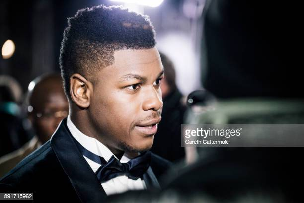 John Boyega attends the European Premiere of Star Wars The Last Jedi at the Royal Albert Hall on December 12 2017 in London England
