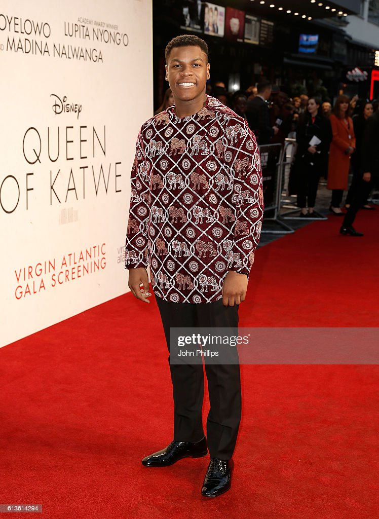 John Boyega attends the 'Queen Of Katwe' Virgin Atlantic Gala screening during the 60th BFI London Film Festival at Odeon Leicester Square on October 9, 2016 in London, England.