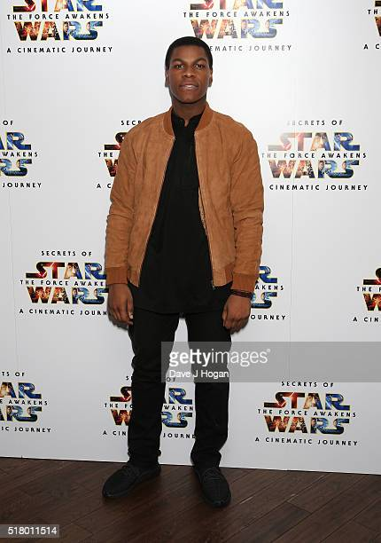 John Boyega attends the UK Gala Screening of 'Secrets of the Force Awakens A Cinematic Journey' at Picturehouse Central on March 29 2016 in London...