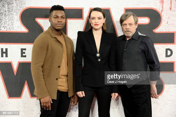 John Boyega Daisy Ridley and Mark Hamill attend the 'Star Wars The Last Jedi' photocall at Corinthia Hotel London on December 13 2017 in London...