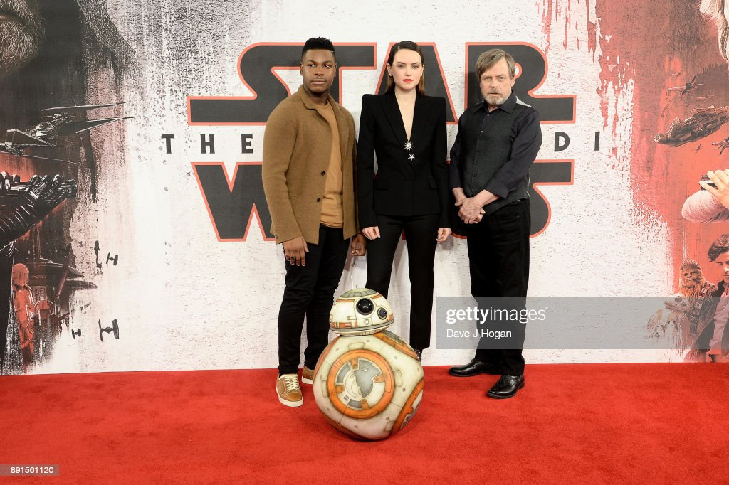 John Boyega, Daisy Ridley and Mark Hamill attend the 'Star Wars: The Last Jedi' photocall at Corinthia Hotel London on December 13, 2017 in London, England.