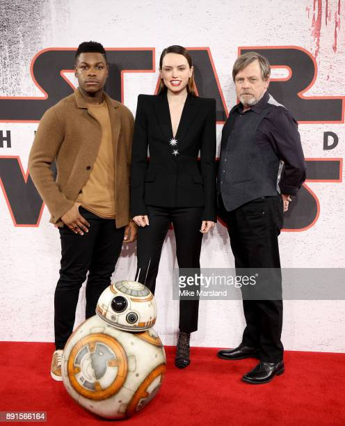 John Boyega, Daisy Ridley and Mark Hamill attend the 'Star Wars: The Last Jedi' photocall at Corinthia Hotel London on December 13, 2017 in London,...