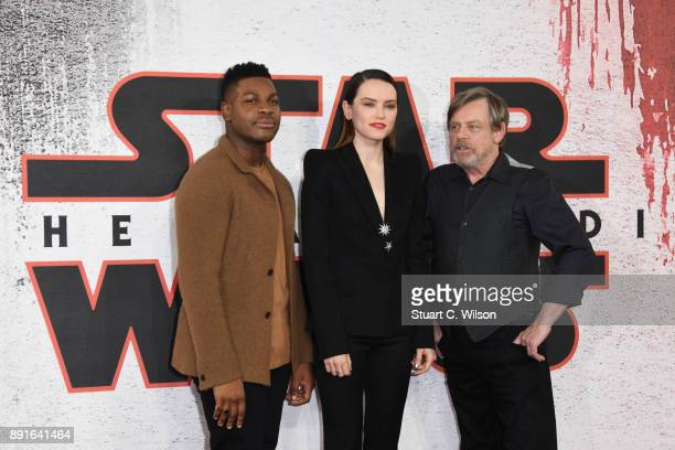 John Boyega Daisy Ridley and Mark Hamill during the 'Star Wars The Last Jedi' photocall at Corinthia Hotel London on December 13 2017 in London...