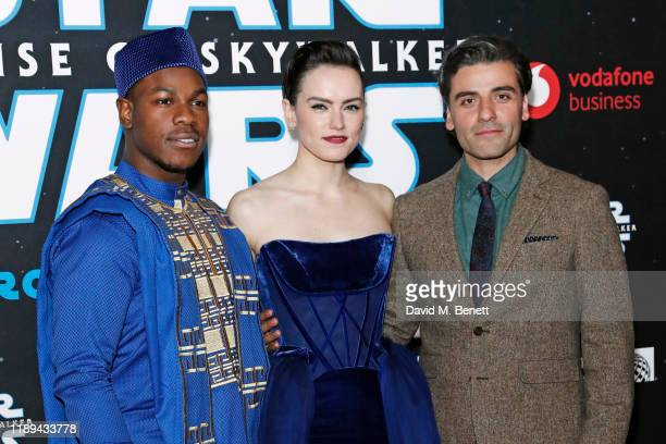 John Boyega Daisy Ridley and Oscar Isaac attend the European Premiere of Star Wars The Rise of Skywalker at Cineworld Leicester Square on December 18...