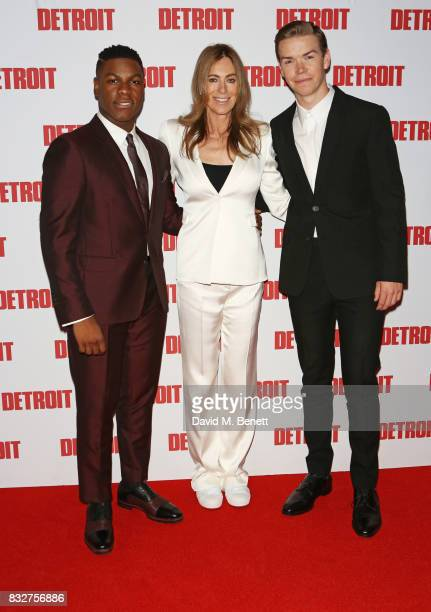 John Boyega director Kathryn Bigelow and Will Poulter attend the European Premiere of 'Detroit' at The Curzon Mayfair on August 16 2017 in London...