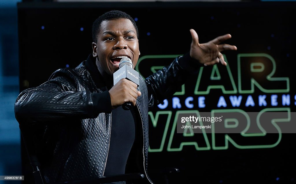 John Boyega from 'Star Wars, The Force Awakens' speaks during AOL Build at AOL Studios In New York on December 3, 2015 in New York City.