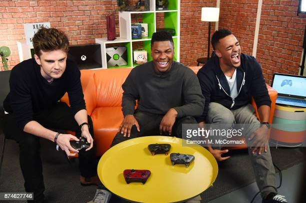 John Boyega joins Rukari Austin and Benny Perkin to play Star Wars Battlefront II on Xbox One X for Xbox Live Sessions on November 15 2017 in London...