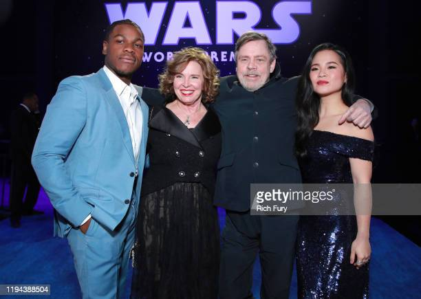 "John Boyega, Marilou York, Mark Hamill, and Kelly Marie Tran attend the Premiere of Disney's ""Star Wars: The Rise Of Skywalker"" on December 16, 2019..."