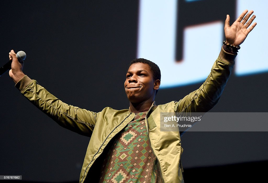 John Boyega on stage during Future Directors Panel at the Star Wars Celebration 2016 at ExCel on July 17, 2016 in London, England.