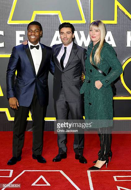 John Boyega Oscar Isaac and guest attend the European Premiere of 'Star Wars The Force Awakens' at Leicester Square on December 16 2015 in London...
