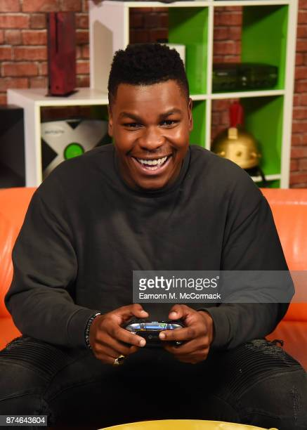 John Boyega plays Star Wars Battlefront II on Xbox One X for Xbox Live Sessions on November 15 2017 in London England