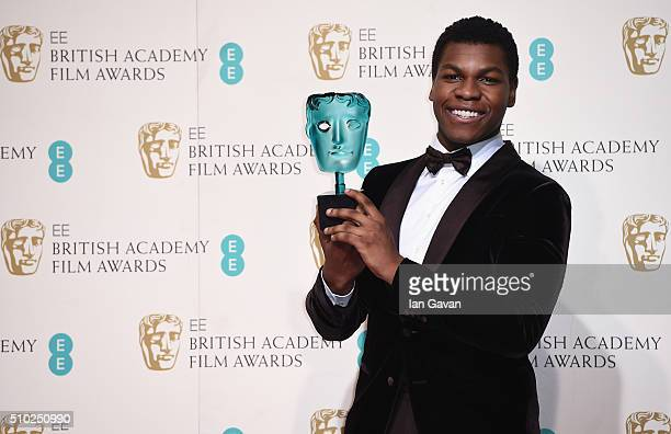 John Boyega poses with the EE Rising Star Award in the winners room at the EE British Academy Film Awards at the Royal Opera House on February 14...