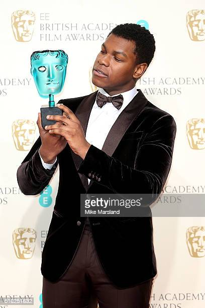 John Boyega poses with the Rising Star award in the winners room at the EE British Academy Film Awards at The Royal Opera House on February 14 2016...