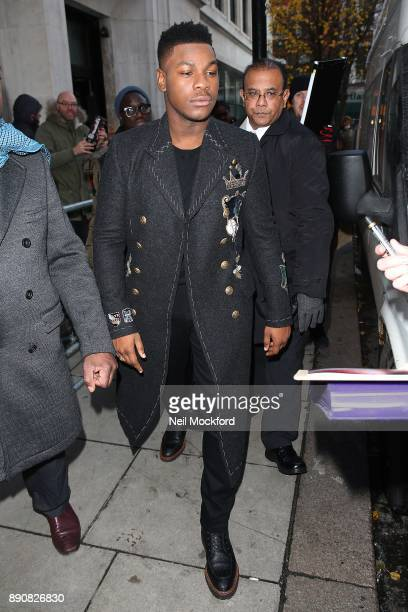 John Boyega seen at BBC Radio 2 promoting the new Starwars movie 'The Last Jedi' on December 12 2017 in London England
