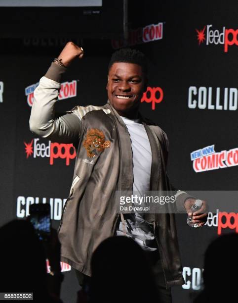 John Boyega speaks onstage during the Pacific Rim Uprising panel at 2017 New York Comic Con on October 6 2017 in New York City