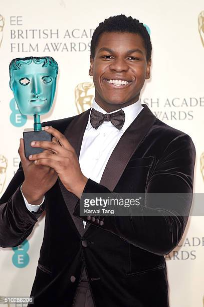 John Boyega winner of EE Rising Star award poses in the winners room at the EE British Academy Film Awards at The Royal Opera House on February 14...