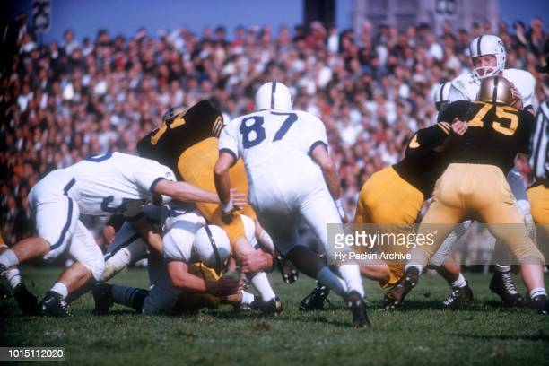 John Bozick of the Penn State Nittany Lions follows the play during an NCAA game against the Army Cadets on October 4 1958 at Michie Stadium in West...
