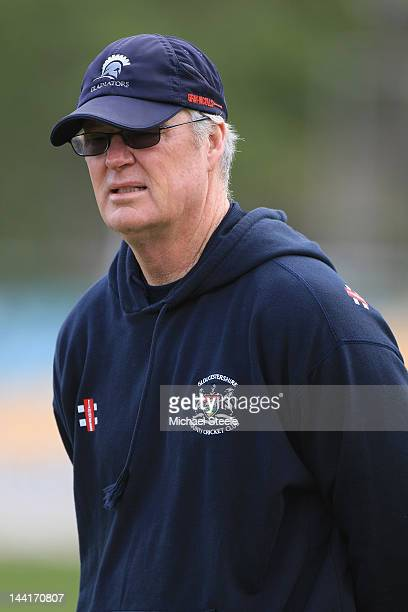 John Bracewell Director of Cricket of Gloucestershire looks on during day three of the LV County Championship second division match between...
