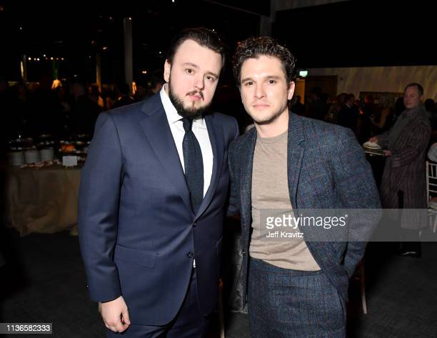 John Bradley and Kit Harrington at the Game of Thrones season finale premiere at the Waterfront Hall on April 12 2019 in Belfast Northern Ireland