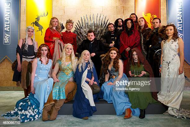 John Bradley opens 'Game of Thrones Exhibition' with fans of the TV show at the O2 in London England on February 09 2015 The exhibition showcasing a...
