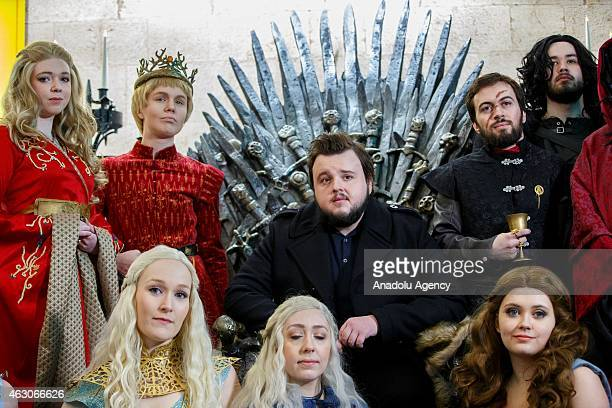 John Bradley opens 'Game of Thrones The Exhibition' with fans of the TV show at the O2 in London England on February 09 2015 The exhibition...