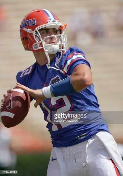 John Brantley of the Florida Gators looks to pass the ball before the game against the Hawaii Warriors at Ben Hill Griffin Stadium on August 30 2008...