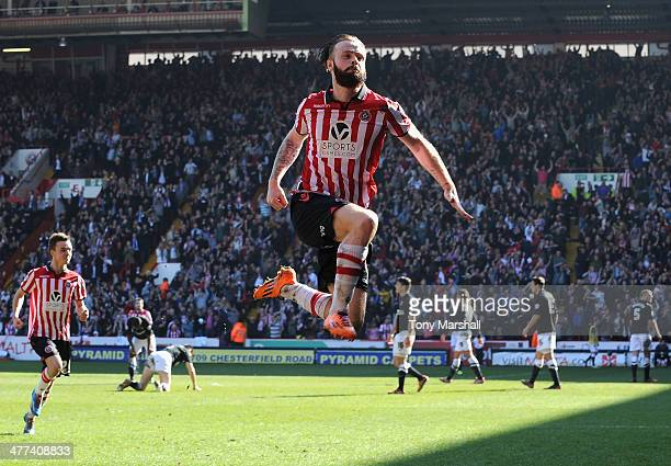 John Brayford of Sheffield United celebrates scoring their second goal during the FA Cup QuarterFinal match at Bramall Lane on March 9 2014 in...