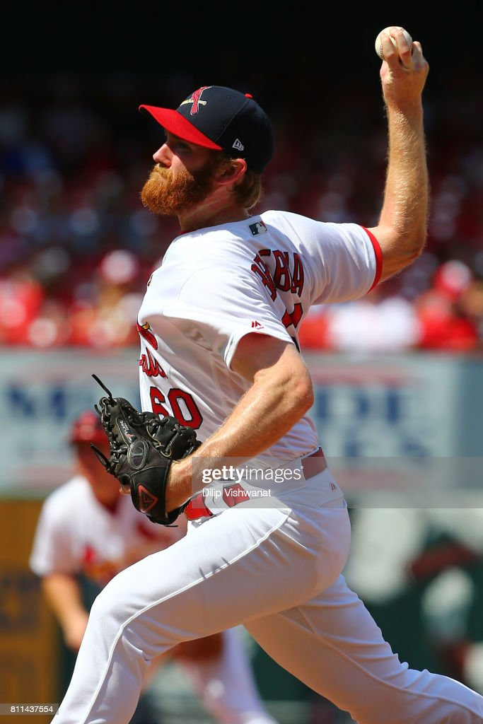 John Brebbia #60 of the St. Louis Cardinals delivers a pitch against the New York Mets in the ninth inning at Busch Stadium on July 9, 2017 in St. Louis, Missouri.