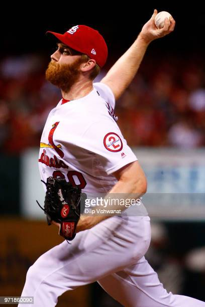 John Brebbia of the St Louis Cardinals delivers a pitch against the San Diego Padres in the seventh inning at Busch Stadium on June 11 2018 in St...