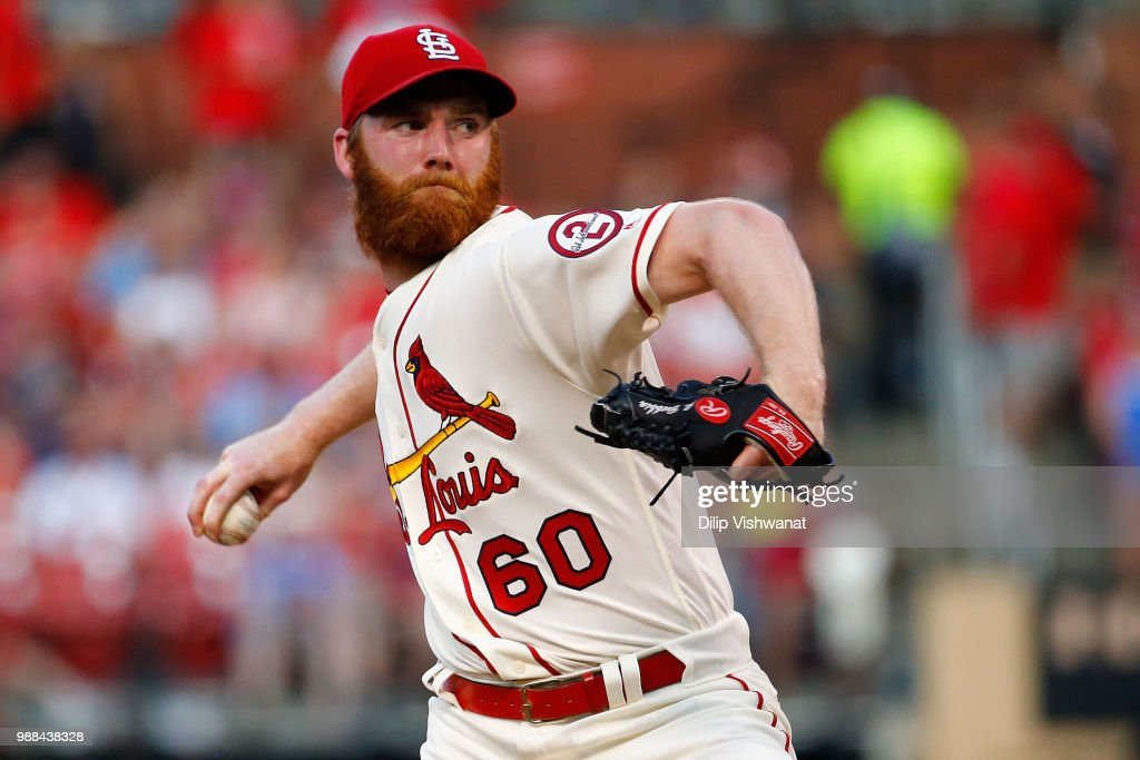 John Brebbia #60 of the St. Louis Cardinals delivers a pitch against the Atlanta Braves in the sixth inning at Busch Stadium on June 30, 2018 in St. Louis, Missouri.