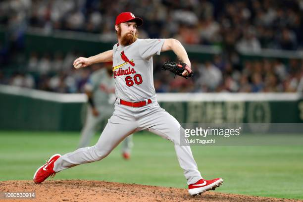 John Brebbia of the St Louis Cardinals pitches during the Japan AllStar Series game against Team Japan at the Tokyo Dome on Sunday November 11 2018...