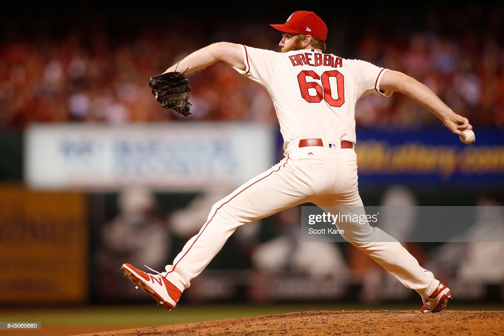 John Brebbia #60 of the St. Louis Cardinals pitches during the seventh inning against the Pittsburgh Pirates at Busch Stadium on September 9, 2017 in St. Louis, Missouri.