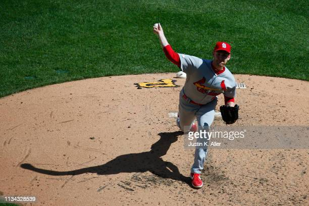 John Brebbia of the St. Louis Cardinals pitches in the fifth inning against the Pittsburgh Pirates at the home opener at PNC Park on April 1, 2019 in...