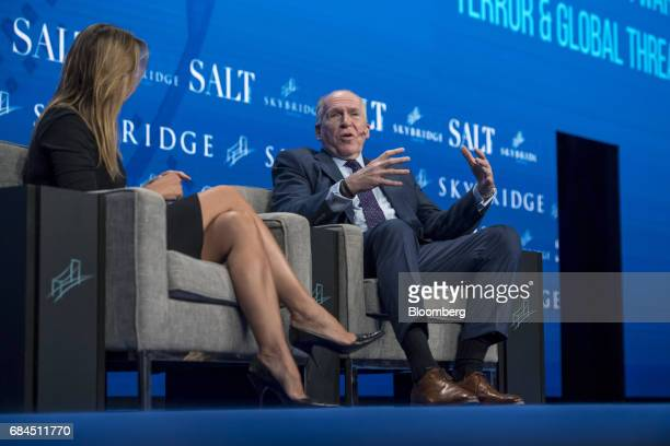 John Brennan former director of the Central Intelligence Agency right speaks at the Skybridge Alternatives conference in Las Vegas Nevada US on...