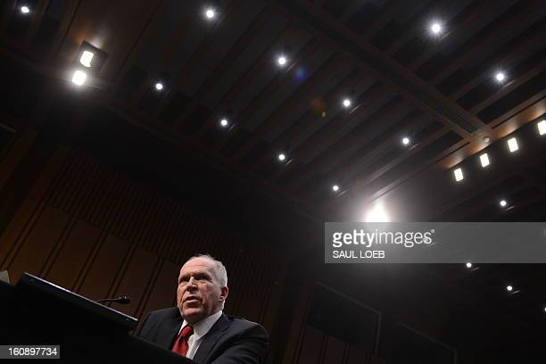 John Brennan US President Barack Obama's nominee to be director of the Central Intelligence Agency testifies during his confirmation hearing before...