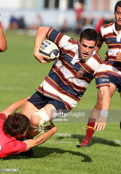 John Brewin of Kings is tackled during the Schoolboys match between Kelston Boys High and Kings College at Kelston on May 7 2011 in Auckland New...