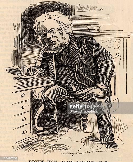 John Bright English radical statesman, born in Rochdale, Lancashire. Anti-Corn Law League. Reform Act 1867. Cartoon by Edward Linley Sambourne in the...