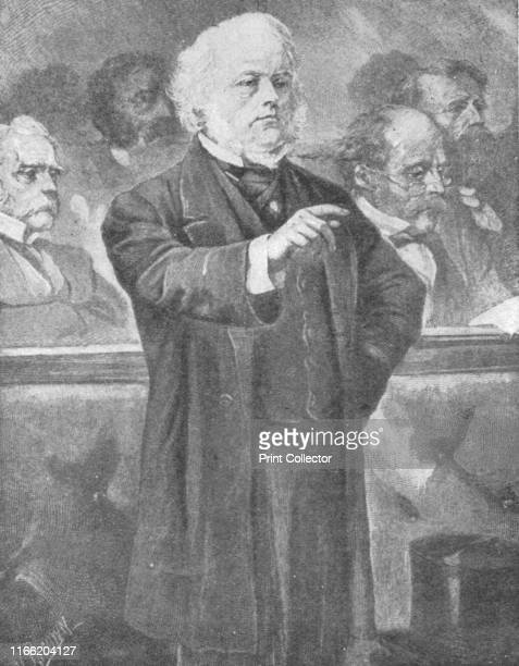 John Bright speaking in the House of Commons', circa 1880s, . British politician John Bright was one of the founders of the Anti-Corn Law League. He...