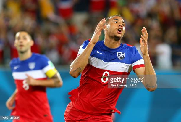 John Brooks of the United States celebrates after scoring the team's second goal during the 2014 FIFA World Cup Brazil Group G match between Ghana...