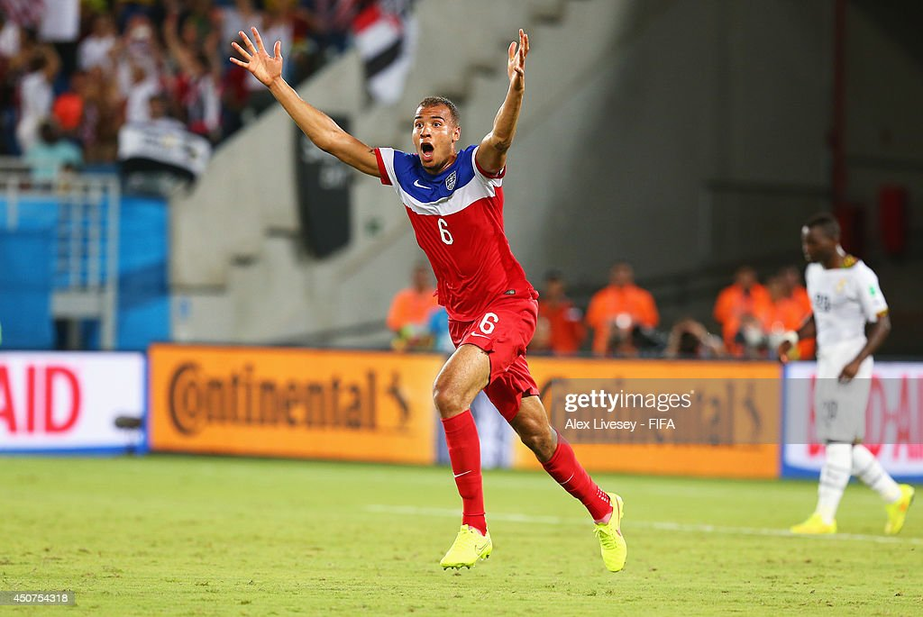 John Brooks of the United States celebrates after scoring the team's second goal during the 2014 FIFA World Cup Brazil Group G match between Ghana and USA at Estadio das Dunas on June 16, 2014 in Natal, Brazil.