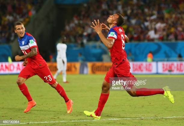 John Brooks of the United States celebrates scoring his team's second goal with Fabian Johnson during the 2014 FIFA World Cup Brazil Group G match...